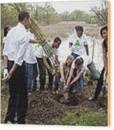 President And Michelle Obama Help Plant Wood Print