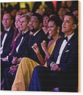 President And Michelle Obama Listen Wood Print by Everett