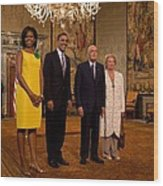 President And Michelle Obama Meet Wood Print by Everett