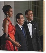 President And Michelle Obama Welcome Wood Print