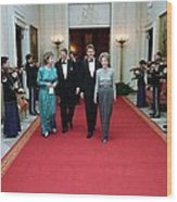 President And Nancy Reagan Walking Wood Print