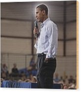 President Barack Obama At A Town Hall Wood Print by Everett