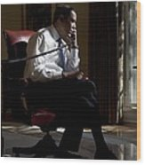 President Barack Obama At His Oval Wood Print by Everett