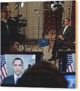 President Barack Obama Conducting Wood Print