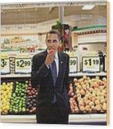 President Barack Obama Eats A Peach Wood Print