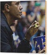 President Barack Obama Eats Popcorn Wood Print