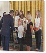 President Barack Obama Greets The 2009 Wood Print