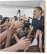 President Barack Obama Greets Young Wood Print
