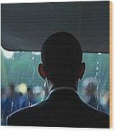President Barack Obama In The Rain Wood Print by Everett