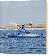 President Barack Obama Kayaks While Wood Print