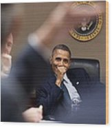 President Barack Obama Laughs Wood Print