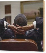 President Barack Obama Leans Back Wood Print by Everett