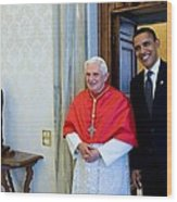 President Barack Obama Meets With Pope Wood Print by Everett