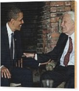 President Barack Obama Meets With Rev Wood Print by Everett