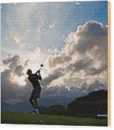 President Barack Obama Plays Golf Wood Print