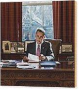 President Barack Obama Reviews Wood Print