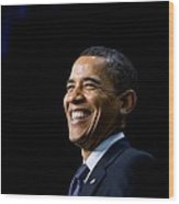 President Barack Obama Smiles While Wood Print by Everett