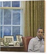 President Barack Obama Talks Wood Print