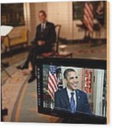 President Barack Obama Tapes The Weekly Wood Print