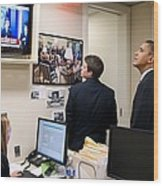 President Barack Obama Watches Msnbc Wood Print