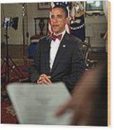 President Barack Obama Wearing A Bow Wood Print by Everett