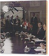 President Bush Participates In A Full Wood Print