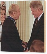 President Clinton Awards Former Wood Print