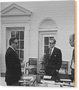 President Ford With Sec. Of State Henry Wood Print by Everett