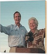 President George Bush And Barbara Bush Wood Print