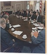 President George Bush Conducts A Full Wood Print
