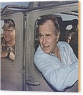 President George Bush Riding In An Wood Print by Everett