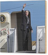 President George Bush Waves Good-bye Wood Print