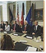 President George W. Bush And Members Wood Print