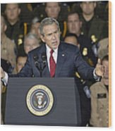President George W. Bush Speaks Wood Print by Stocktrek Images