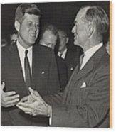 President Kennedy Talking With Arkansas Wood Print