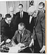 President Lyndon Johnson Signs The 24th Wood Print by Everett