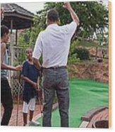 President Michelle Obama React Wood Print by Everett
