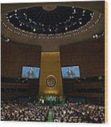 President Obama Addresses The Un Wood Print by Everett