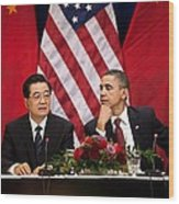 President Obama And Chinese President Wood Print