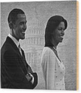 President Obama And First Lady Bw Wood Print