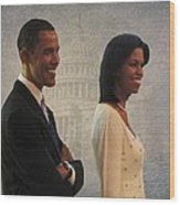 President Obama And First Lady Wood Print by David Dehner