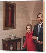 President Obama And Former First Lady Wood Print by Everett