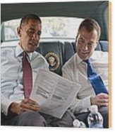 President Obama And Russian President Wood Print