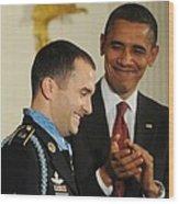 President Obama Applauds Wood Print by Everett