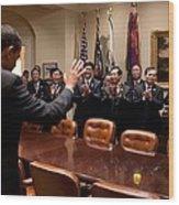 President Obama Bids Farewell Wood Print