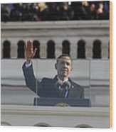 President Obama Gestures As He Delivers Wood Print