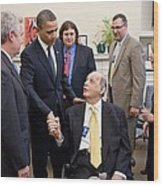 President Obama Greets James Brady Wood Print