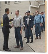 President Obama Greets Workers At Shift Wood Print