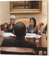President Obama Listens To Nancy-ann Wood Print