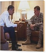 President Obama Meets With Army Gen Wood Print